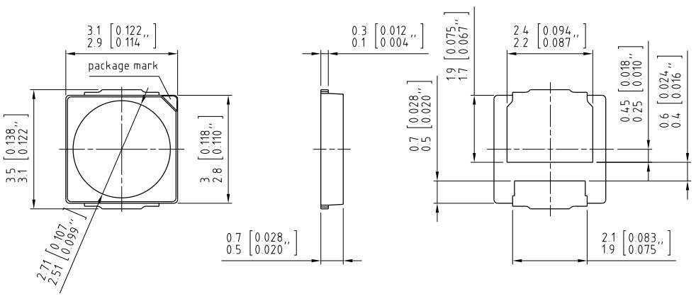 通途光电led 3030 DURIS ® S5E焊盘图