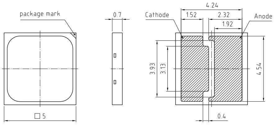通途光电led 5050 DURIS ® S8带板焊盘图