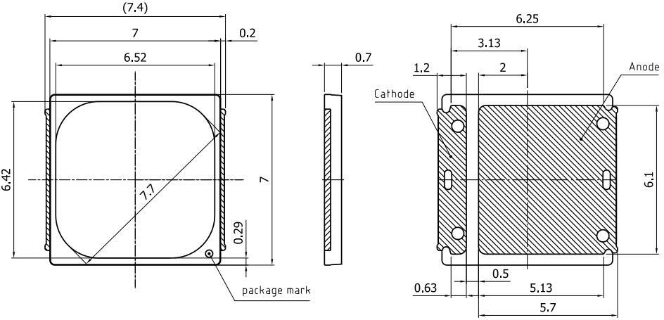 通途光电led 7070 DURIS ® S10不带板焊盘图