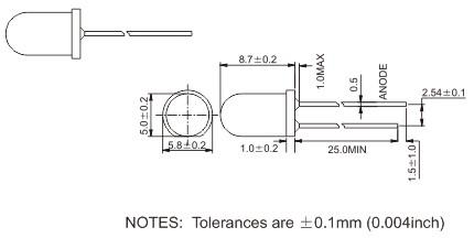 通途光电led 圆头直插式LED焊盘图
