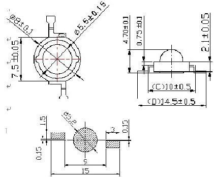 通途光电led 仿流明1-3W大功率LED焊盘图